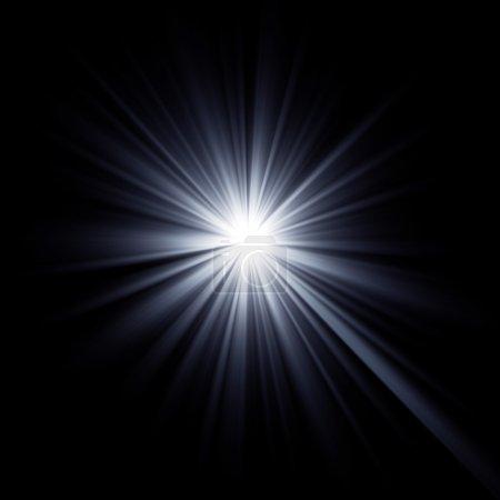 Foto de Brillante estrella rebosante de vigas. Los rayos de la explosión de luz efecto óptico. - Imagen libre de derechos
