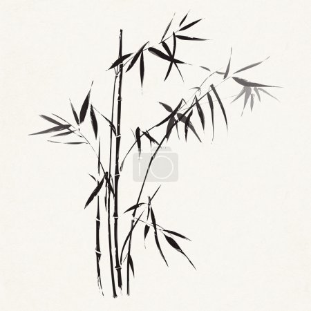 Photo for Bamboo branches outlined in traditional asian black and white style - Royalty Free Image
