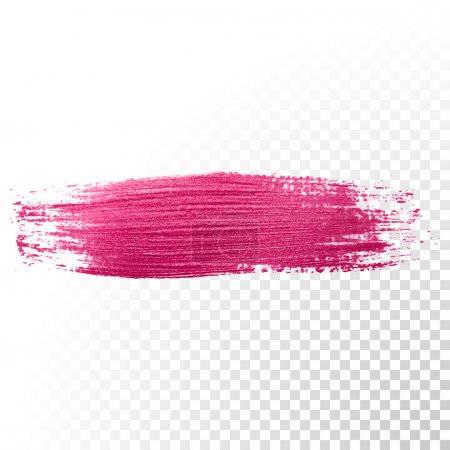 Pink watercolor brush stroke. Vector oil paint smear. Polish trace.