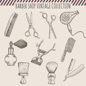 Vector barber shop vintage tools collection  Pencil hand drawn illustration