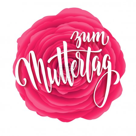 Muttertag Liebe vector greeting card. Pink red ros...