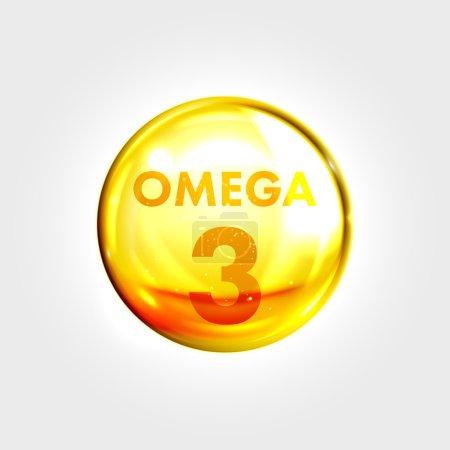 Omega 3 icon drop gold pill capsule