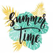 Summer Time card with tropical leaf seamless pattern.
