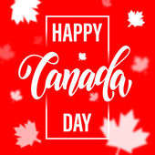 Happy Canada Day calligraphy greeting card Maple leaf pattern vector illustration Canadian flag red background wallpaper