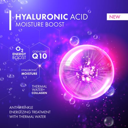 Hyaluronic Acid Moisture Boost. Collagen pink bubble.