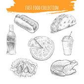 Fast food sketch Snacks and desserts pencil art illustration