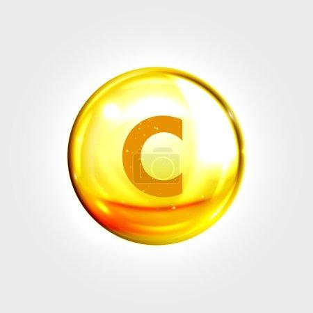 Vitamin C gold icon. Ascorbic acid vitamin drop pi...