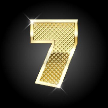Vector metal gold letter of number seven 7