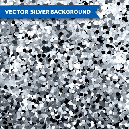 Illustration for Vector Silver Glittering background of bright sequins - Royalty Free Image