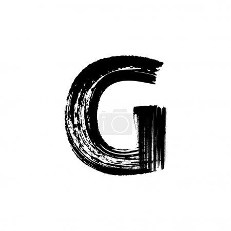 Letter G hand drawn with dry brush