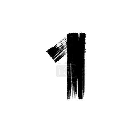 Illustration pour Vecteur numéro Un 1 dessiné à la main avec une brosse sèche - image libre de droit