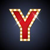 Vector illustration of letter Y in retro signboard style Part of alphabet including special European letters
