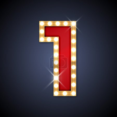 Vector illustration of realistic retro signboard number 1 one
