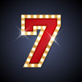 Vector illustration of retro signboard in shape of number 7 seven Part of alphabet including special European letters