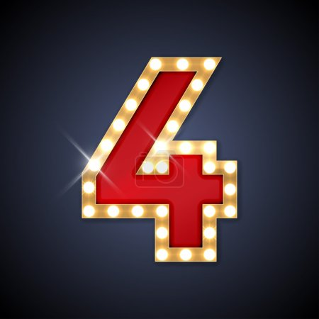 Vector illustration of realistic retro signboard number 4 four