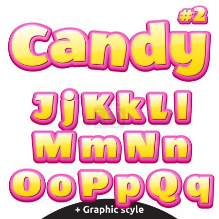 Funny childrens candy letters set. Latin uppercase and lowercase
