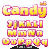 Funny childrens candy letters set Latin uppercase and lowercase