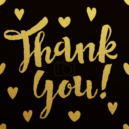 Illustration for Thank You card with design of gold letters on black background - Royalty Free Image