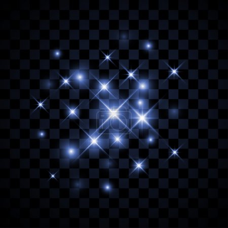 Set of Vector glowing stars with sparkles on background.