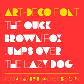 Modern art-deco related font between retro and futuristic style Typeface is geometrically straight rhythmic clean and elegant letters numbers punctuation and special symbols