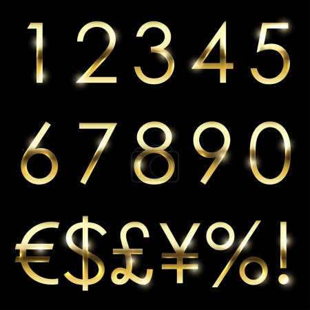 Vector gold shiny font set currency, numbers and special symbols