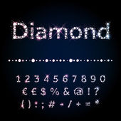 Shiny diamond font set numbers and special symbols