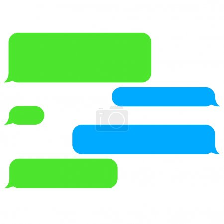 Illustration for Vector flat phone chat bubbles. Sms messages. Speech bubbles. Short message service bubbles. - Royalty Free Image