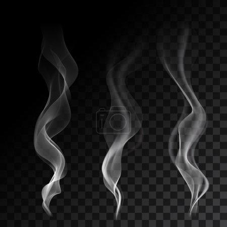 Illustration pour Ondes de fumée de cigarette fumantes blanches sur fond transparent. Illustration vectorielle . - image libre de droit