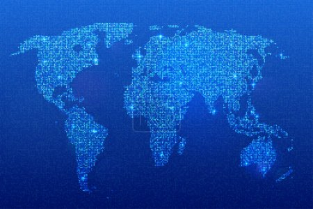 World map of glittering sequins on blue background