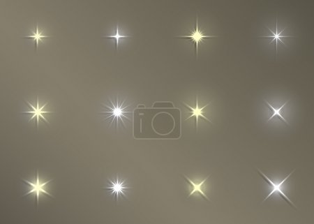 Set of Vector glowing light effect stars bursts with sparkles