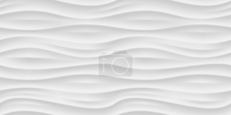 Illustration for White seamless texture. Wavy background. Interior wall decoration. Vector interior panel pattern. - Royalty Free Image