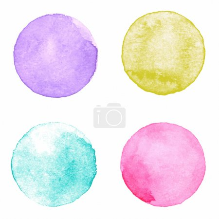 Illustration for Watercolour handpainted textured circles collection on white paper background. Violet, yellow, aquamarine, pink - Royalty Free Image