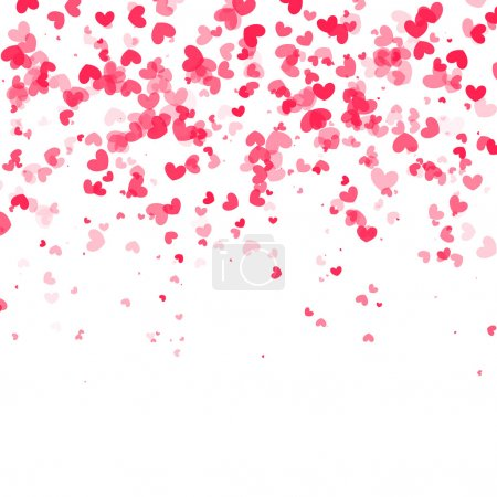 Falling hearts background. Vector white backgound
