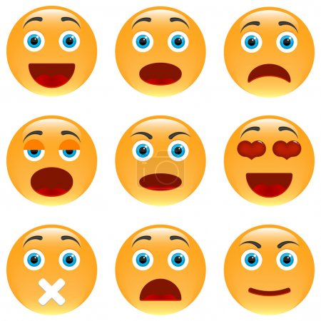 Illustration for Set of Emoticons. Set of Emoji. Isolated vector illustration - Royalty Free Image