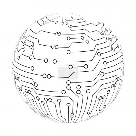 Illustration for Abstract circuit board sphere. Vector EPS10 - Royalty Free Image