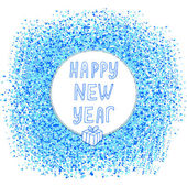 Happy New Year text on the blue creative spot Winter background