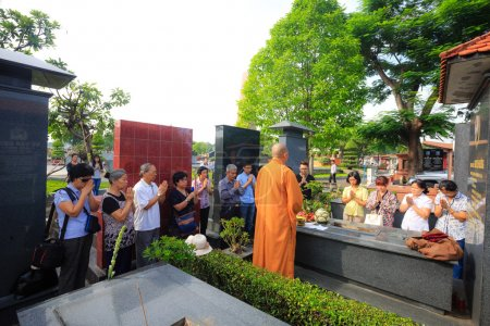 Hochiminh City, Vietnam - June 13 2015 : in the tradition of the Funeral The Ceremony to take Asian Buddhism to the final resting place deceased