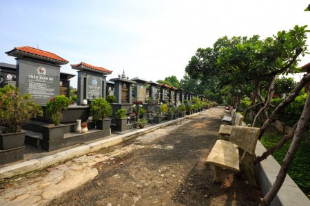 Hochiminh City Vietnam June 13 2015: a cemetery of a Buddhist tradition in Saigon