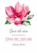Svatební pozvání akvarel s květinami