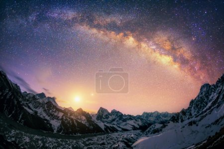The dome of the Milky Way under the main Himalayan ridge.