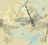 Seamless pattern with autumn Maple Leaves and dragonfly's Template for design fabric covers and wrapping paper