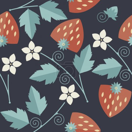 Cute seamless pattern with red strawberries kernels, leaves, sta