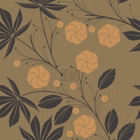 Illustration pour Motif sans couture avec des feuilles tropicales et fleurs d'hibiscus peut être utilisé pour le lin, tissu de conception de tuiles, textiles et dessins plus créatifs . - image libre de droit
