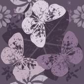 Stylový model s siluety motýl na květu květiny