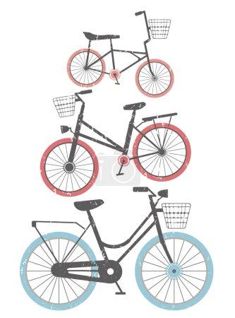 Set of retro bicycles