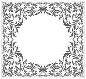 Circle frame with vintage floral ornament