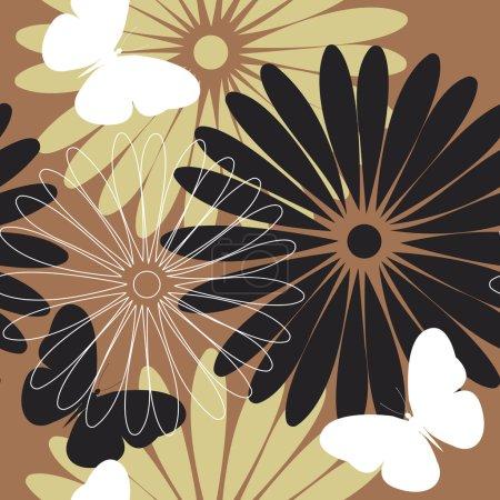 Illustration pour Modèle élégant coloré avec des fleurs et des papillons. Modèle élégant peut être utilisé pour le tissu design, textile, linge de maison et plus de conceptions . - image libre de droit