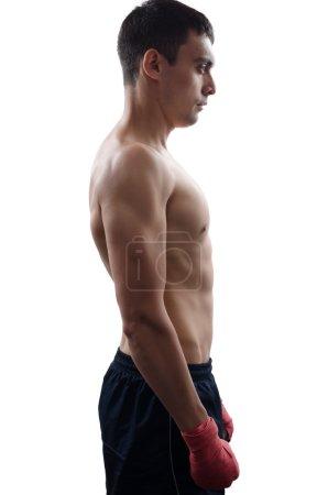 Foto de Ver perfil de boxeador macho joven fuerte - Imagen libre de derechos
