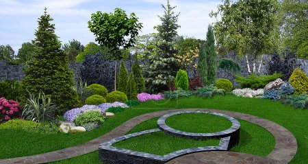 Backyard planting of greenery, 3d render