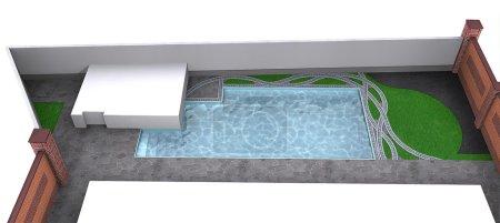 Side yard poolside, 3d rendering